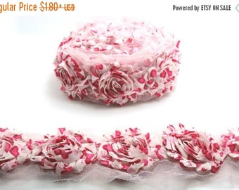 30% OFF Hot Pink Heart Yard Flowers Shabby Rose Trim Flowers Shabby Flower Rose Trim / Chiffon Flower.