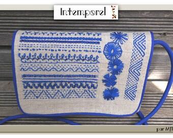 Bag-shoulder bag in linen, dream in blue