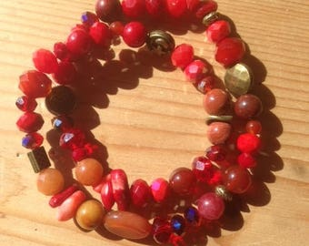 Double bracelet * why not? *, red, coral, Jasper, Carnelian, aventurine, glass faceted beads and color bronze