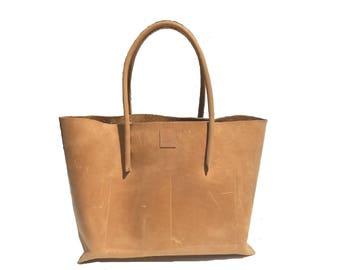 Ledershopper / leather bag large shopper beige nature used look leather / vintage - design / large tote hand made