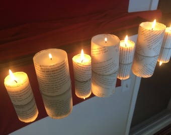 Combination book paper candles, thanksgiving,engagement, bridal shower, Christmas, literary wedding candles, luminaries