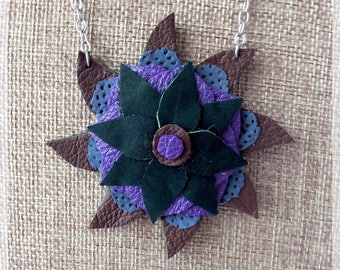 Recycled leather mandala necklace