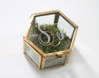 personalized hexagonal RING box with engraving   Wedding   Ring box for wedding rings