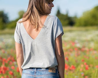 V neck t shirt, oversized top, summer shirt, loose shirt, deep V neck, oversized shirt, summer top, minimalist top, loose top, cotton top