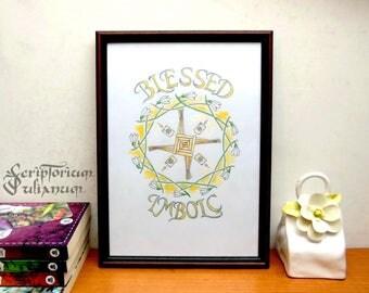 Imbolc decor, Imbolc print art, Imbolc altar, Wicca altar, Blessed Imbolc, Imbolc wall art, Brigid's cross art, Spring art, Imbolc gift