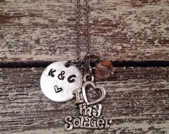 I love my soldier with couples initials~ military couple necklace~ couples necklace gift~ girlfriend gift necklace~