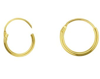 2 hoops in yellow gold 750/1000 sterling (18 k) 14mm (jewelry nine) marked 750 gold