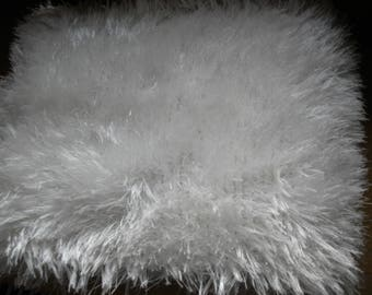 White furry yarn scarf