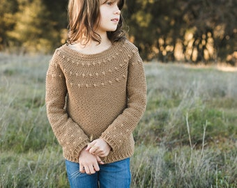 Dahlia Sweater Crochet Pattern, Long AND Short Sleeve, Child Sizes 4, 6, 8/10, Women's XS, S, M, L, XL, 2X, 3X