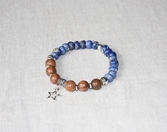 Blue ethnic bracelet and personalized wood