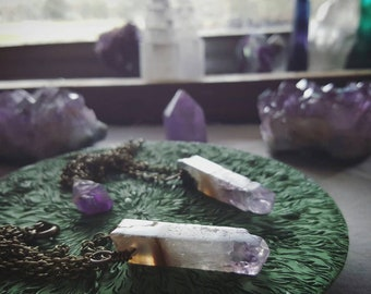 Gift for Her // Minimalist Amethyst Slice & Vintage Brass Necklace // quartz jewelry // gemstones // crystal point