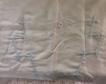 Art Deco Baby Crib or Pram Set, Silk, Embroidery, Trapunto Embroidery Coverlet and Pillow Sham, Fabulous!