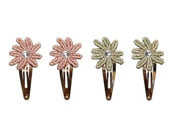 Flower snap clip - baby snap clip - toddler snap clip - baby hair clip- girl hair clip - flower hair clip - pink hair clip -green hair clip