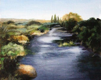 Landscape painting, original acrylic painting, river painting, small painting