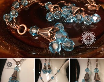 Copper and Crystal Necklace and Earring Set