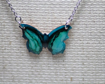 Aqua Blue and Teal Hand Painted Butterfly Necklace