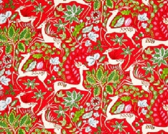 "Dena Designs Free Spirit ""Winterland""  Reindeer--Red  Cotton Fabric"