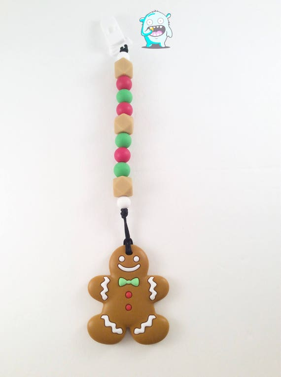Silicone Gingerbread cookie teething clip, Teething Baby, Baby Shower, baby gift, teething clip, soother clip, teething, christmas teether