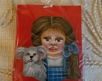 Hand painted Wooden Pin  - Dorothy and Toto