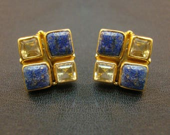 Lovely Lapis Lazuli Or Citrine 925 Sterling Silver Gold Plated Stud Women's Fashion Earrings For GIFT