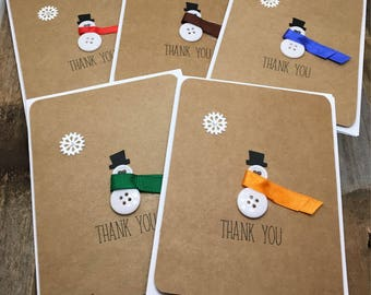 Snowman Thank You Cards, Christmas Thank You Cards, Winter Thank You Cards, Snowman Cards, Thank You Cards, Set of Five Cards, Set of 5 Card