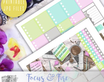 Focus & Fire Weekly Kit - Printable Stickers for Erin Condren