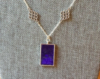 Cobalt blue stained glass and metal bezel pendant