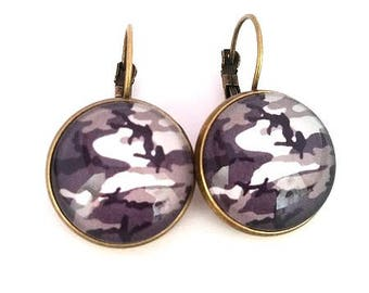 Cabochon • • • black and grey camouflage earrings bronze