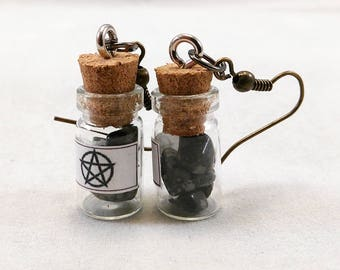 Obsidian Earrings - Charm Amulet Pagan New Age Jewelry