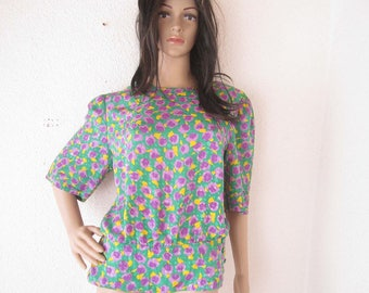 Vintage 80s peplum blouse blouse with Schössschen M