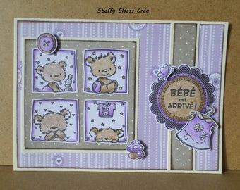 Newborn baby girl card arrived bear purple