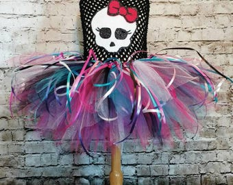 girly skull birthday tutu set,girls birthday dress,babies first birthday tutu dress,skull birthday tutu set,monster birthday tutu