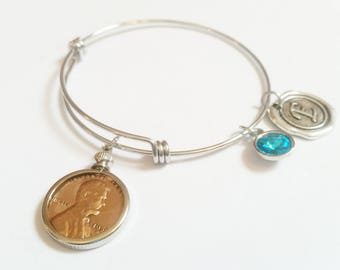 90th Birthday Gift 1927 Bracelet Birthstone Happy Birthday Gift US Penny Bracelet Mom Expandable Bangle initial charm  Coin Jewelry