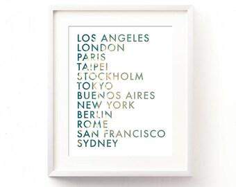 typography art, travel wall art, world cities print, Los Angeles, London, Paris, Sydney, Berlin, modern decor, baby boy nursery art, files