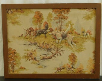 Vintage Trapunto, 3 D Hand Stitched Raised Fabric Artwork, Hunt Scene, Pointer Dogs, Rustic Cabin Decor, Hunting Lodge, Gift for Dog Lover