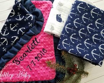 Baby Shower Gift, Girl Baby Blanket, Nautical Baby Blanket, Baby Girl blanket, nautical shower gift,  pink baby blanket, nautical swaddle