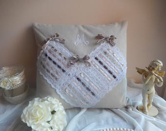 "beige linen square pillow with Monogram ""M"" lace beads and ribbons and bows, zipper"