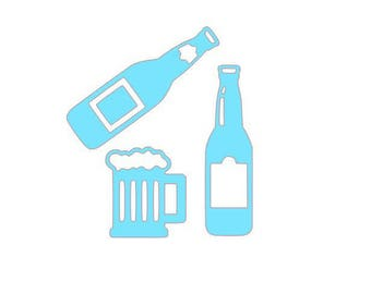 set of 3 cutouts cardmaking scrapbooking drinks...