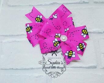 Handmade Pink Bee Pinwheels