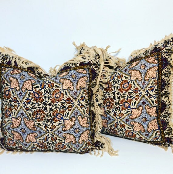 """Set of two block printed tapestry pillows , natural cotton and irish linen fabric, 16"""" traditional cushions"""