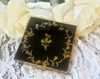 Black and gold floral volupte powder compact/vintage compact/vintage makeup/makeup/powder compact/volupte/50's compact/art deco/vanity decor