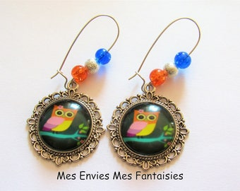 OWL ღ cracked beads earrings Orange and blue ღ ღ silver Stardust beads