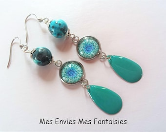 Boheme Bleu Jade and grey drop earrings enamel and glass cabochon