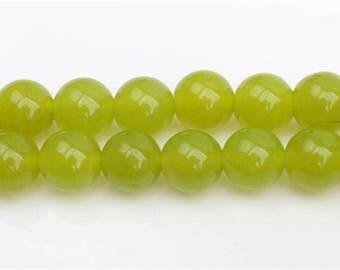 Lemon green Chalcedony beads - 15'' Full Strand Gemstone Chalcedony beads - Genuine Natural Stone bead - 4mm 6mm 8mm 10mm 12mm 14mm - B212
