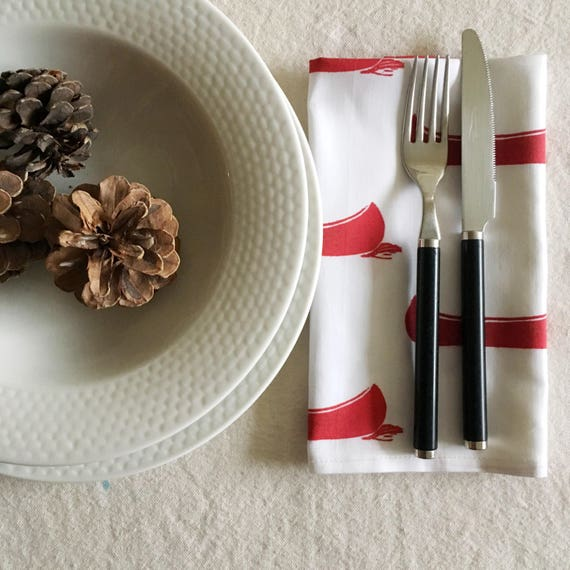 FREE SHIPPING Organic cotton sateen dinner napkins, set of four, red canoes, christmas gift, red and white, housewarming, table linens