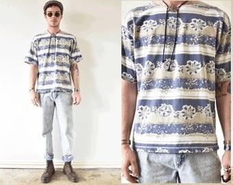 Vintage Lose Neck Patterend Tshirt