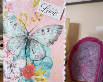 Handmade beautiful decoupaged butterfly card