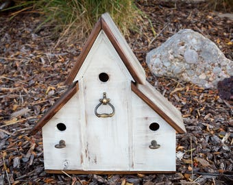 Rustic Country Triplex Birdhouse with antiqued brass accents