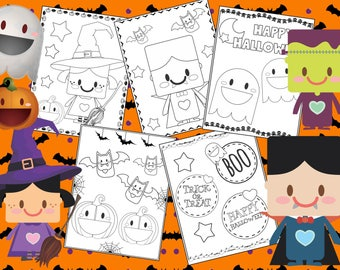 Sweet Halloween Coloring Pages - The Crayon Crowd, witch, ghosts, cute, printable, party, party favors, Coloring book, Sheets, kids, pdf