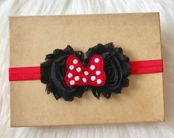 Minnie Mouse Baby Headband, Minnie Mouse Headband, Minnie Headband, Minnie Baby Headband, Baby Headband, Infant Headband, Disney Headband